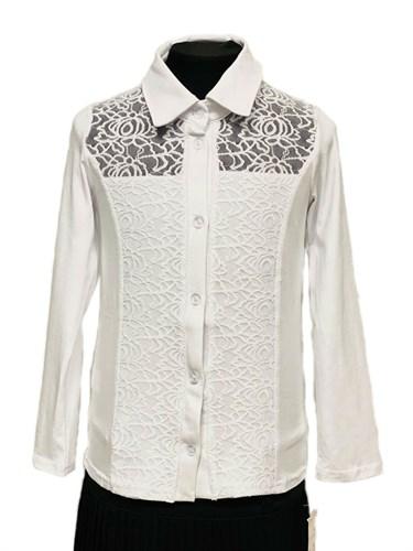 блузка ЛЮТИК модель 10113 длинный рукав,трикотажная, белая (р.128) - фото 30992