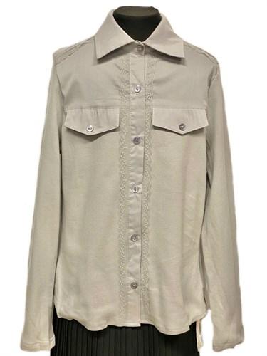 блузка ЛЮТИК модель 20156 длинный рукав, серая (рост146,152,158,164,170) - фото 31101