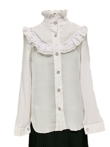 блузка ЛЮТИК модель 20150 длинный рукав, белая (рост134,140,146) - фото 31102