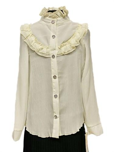 блузка ЛЮТИК модель 20150 длинный рукав, кремовая (рост128,134,140,146,152) - фото 31103
