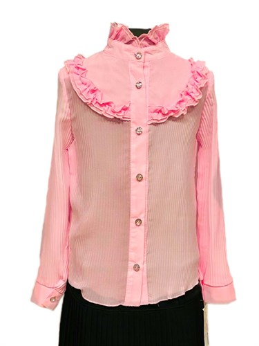 блузка ЛЮТИК модель 20150 длинный рукав, розовая (рост128,134,140,146,152) - фото 31104