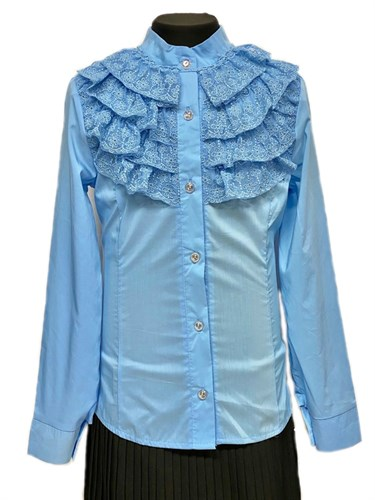 блузка ЛЮТИК модель 20159 длинный рукав, голубая (рост128,134,140,146,152) - фото 31105