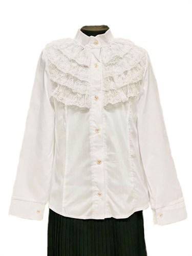 блузка ЛЮТИК модель 20159 длинный рукав, кружева, белая (рост128,134,140,146,152) - фото 31107