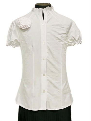 BG блузка короткий рукав, ворот-стойка с розой, белая (рост: 134 -164) - фото 31110