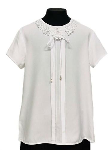 Anna-S nr 7А/2020 блузка короткий рукав, белая (р.128,134,140,146,152,158) - фото 31195