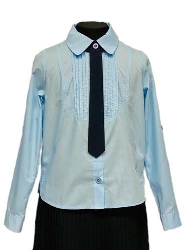 BG блузка длинный рукав, c галстуком, плиссе, голубая (рост 134-164) 6шт. - фото 31206