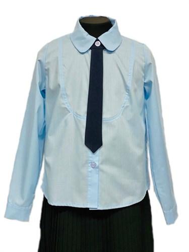 BG блузка длинный рукав c галстуком, голубая (рост 134-164) 6шт. - фото 31207