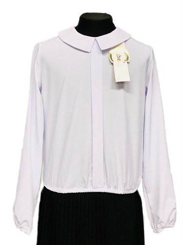Catherine блузка длинный рукав, на резинке, белая (р.128-158) - фото 31220