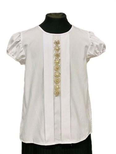 AGATKA блузка короткий рукав, прямая, белая (р.134-164) - фото 31225