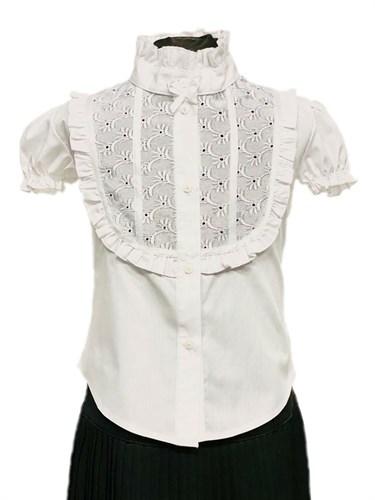 BG блузка короткий рукав, вставка шитье, белая (р.34-44) - фото 31226