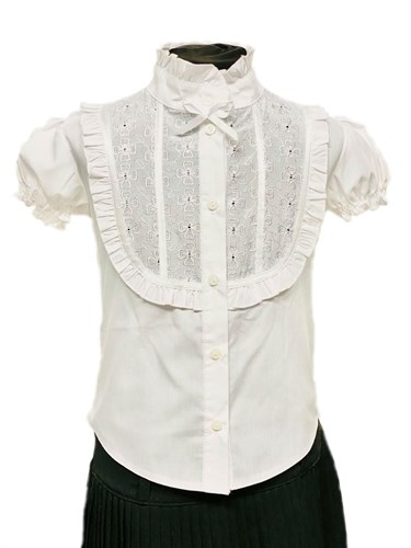 BG блузка короткий рукав, вставка шитье, белая (р.34-44) - фото 31227