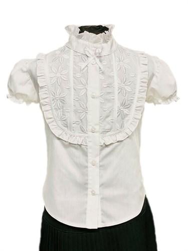 BG блузка кор.рук. хлопок, вставка, белая (р34.38.40.42.44) - фото 31228