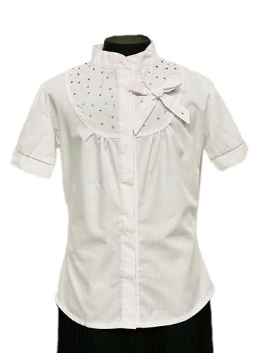BG блузка короткий рукав, стразы,белая (рост 134 - 164) 6шт. - фото 31235