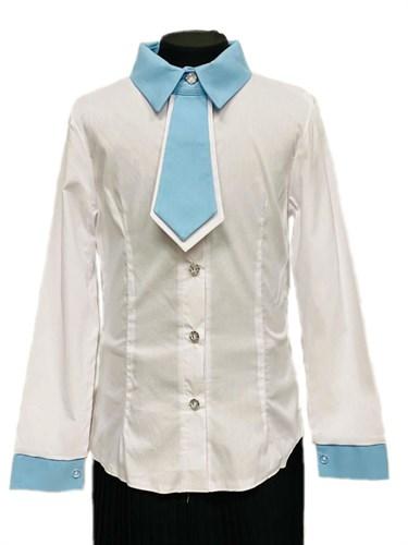 блузка ЛЮТИК модель 20146 длинный рукав, галстук ,белая (рост140-164) - фото 31237