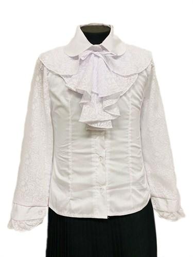 блузка ЛЮТИК модель 20103 длинный рукав, жабо, белая (рост128,134,140,146,152) - фото 31239