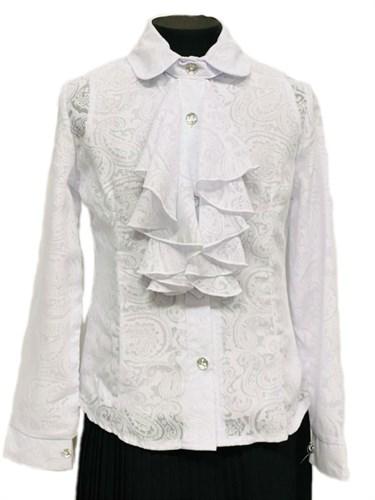 блузка ЛЮТИК модель 20129 длинный рукав, жабо,белая (рост128,134,140,146,152) - фото 31240