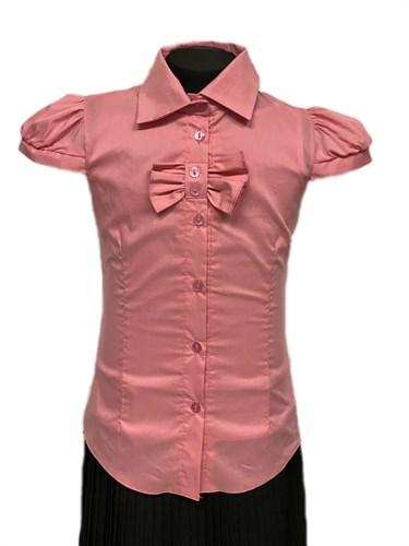 блузка ЛЮТИК модель 20155 короткий рукав, прямая, розовая (рост128,134,140,146,152)  - фото 31242