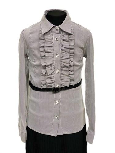 TALKA блузка длинный рукав, с ремешком, серая (р.134-164) - фото 31243