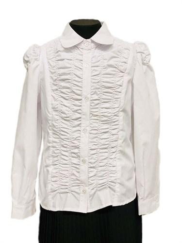 MAGICjunior модель 067 блузка длинный рукав, белая (р-ры:128-158) - фото 31244