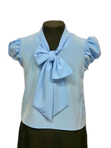 AGATKA блузка короткий рукав с бантом голубая (р-р128-158) - фото 31245
