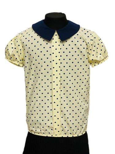 TALKA бузка короткий рукав на резинке, сердечки, желтая (р.128-158) - фото 31274