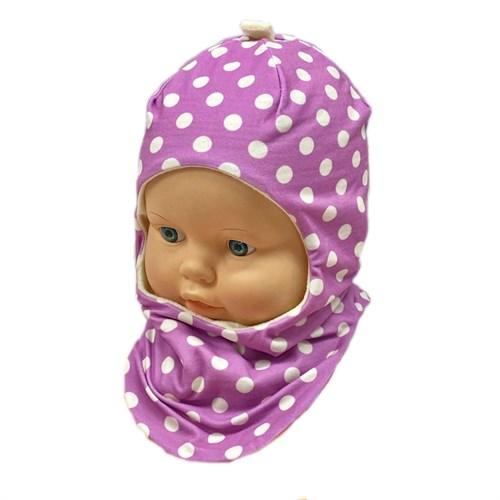 ambra шлем Горох для девочки подклад флис (р.46-48) - фото 31289