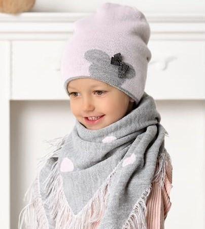 .AJS комплект 40-445 шапка+платок двойная вязка (р.52-54) - фото 31472