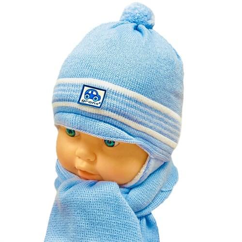 GRANS комплект A 467 шапка вязаная, подклад флис+шарф (р.38-40) - фото 31576