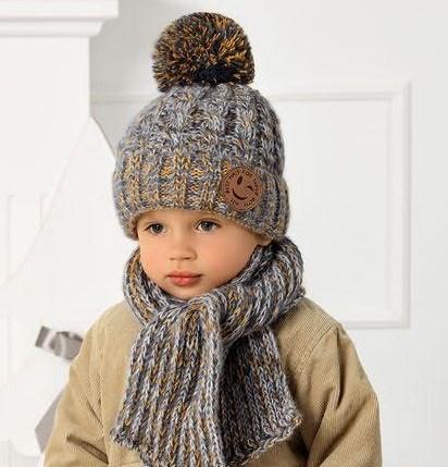 .AJS комплект 40-461 шапка на флисе +шарф (р.52-54) - фото 31819