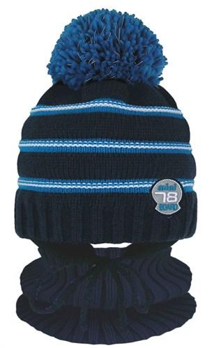 GRANS комплект  A 1120m ST шапка с утеплителем, подклад хлопок+снуд (р.50-52) светоотражающий помпон - фото 31859