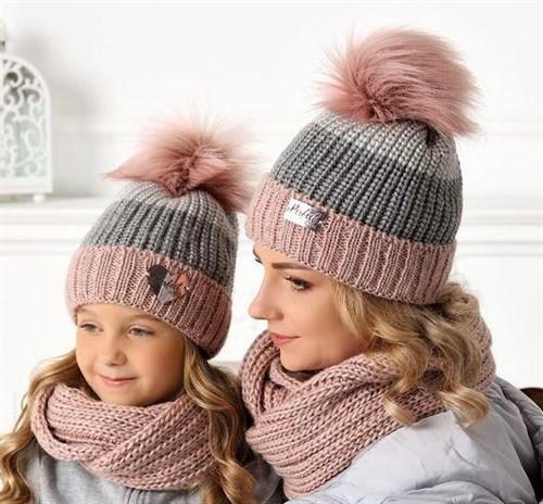 .AJS комплект 40-480 шапка подклад флис + снуд (р.52-54) - фото 32308