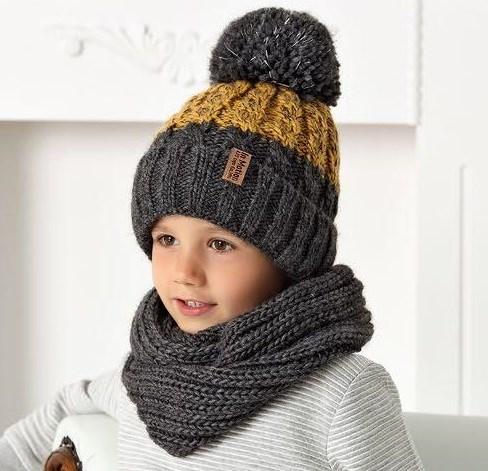.AJS комплект 40-518 шапка на флисе+снуд (р.52-54) светоотражающий помпон - фото 32319