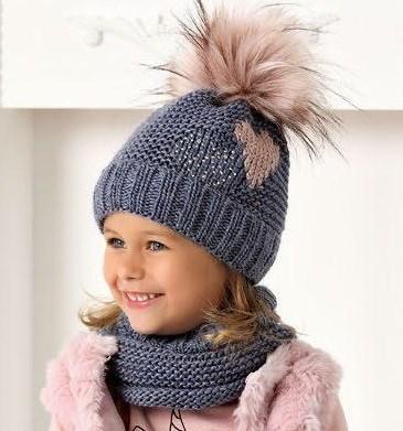 .AJS комплект 40-495 шапка на флисе +снуд (р.54-56) - фото 32389