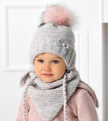 .AJS комплект 40-427 шапка подклад флис + платок (р.50-52) - фото 32588