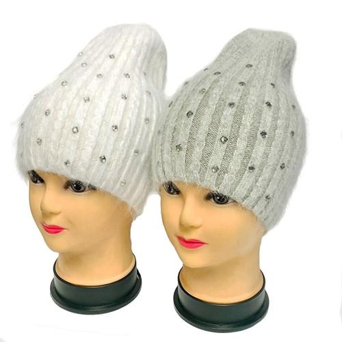 шапка одинарная вязка, ангоровая (р.54-56) - фото 32924