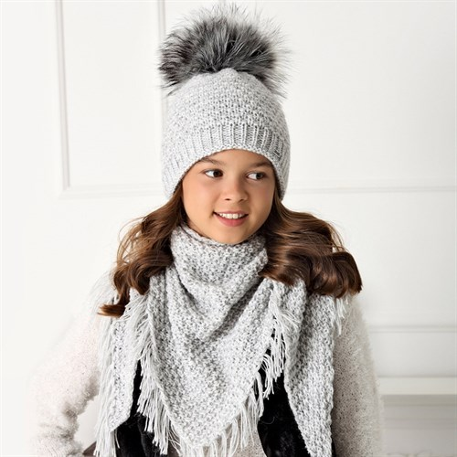 .AJS комплект 40-537 шапка двойная вязка + платок (р.54-56) - фото 32946