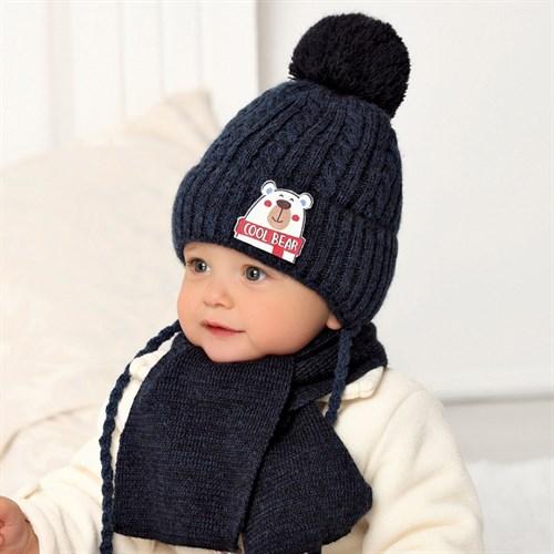 .AJS комплект 40-414 шапка вязаная на флисе + шарф (р.44-46) - фото 32967