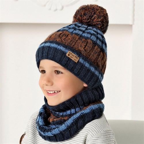 .AJS комплект 40-523 шапка на флисе +снуд (р.50-52) - фото 32974