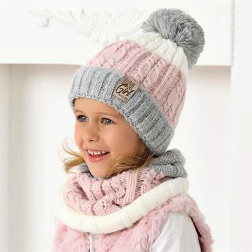 .AJS комплект 40-486 шапка вязаная, подклад флис + снуд (р.54-56) - фото 33044