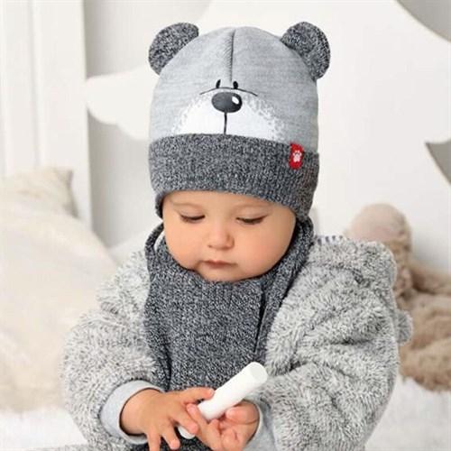 .AJS комплект 40-415 шапка вязаная, подклад хлопок + шарф (р.44-46) - фото 33186