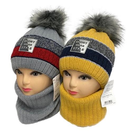 AGBO комплект 2883 Michal шапка с утеплителем, подклад хлопок+снуд (р.50-52) - фото 33191