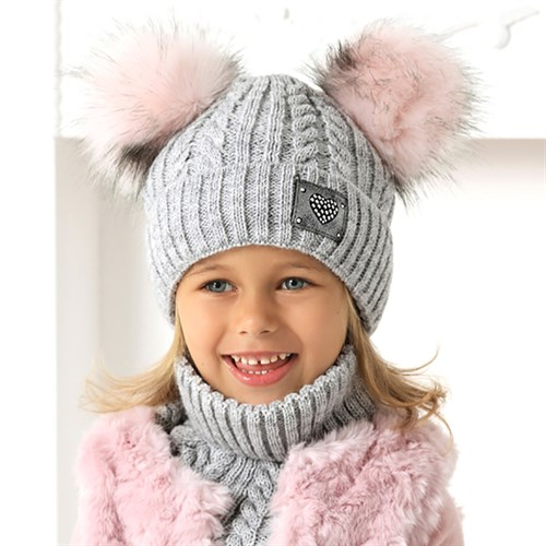 .AJS комплект 40-496 шапка подклад флис + снуд (р.54-56) - фото 33255