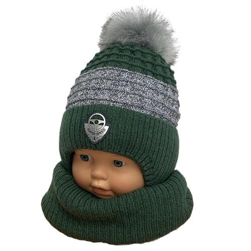 AGBO комплект 3243 Fikus 3 шапка с  утеплителем, подклад хлопок +снуд (р.44-46) - фото 33260