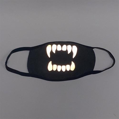 светоотражающая серая маска на лицо, рисунок: светящиеся зубы - фото 33273