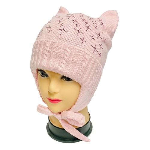 Angel шапка AN-5044 вязаная (кролик), подклад хлопок (р.52-54) розовая - фото 33298