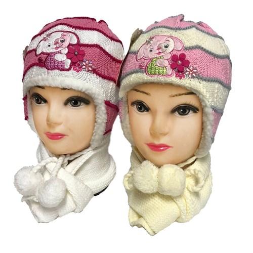Politano комплект: шапка вязаная, подклад мех + шарф (р.48-50) - фото 33317