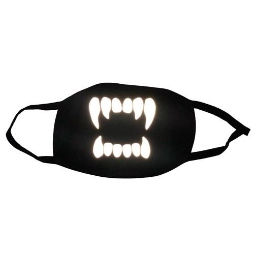 светоотражающая черная маска на лицо, рисунок: светящиеся зубы - фото 33330