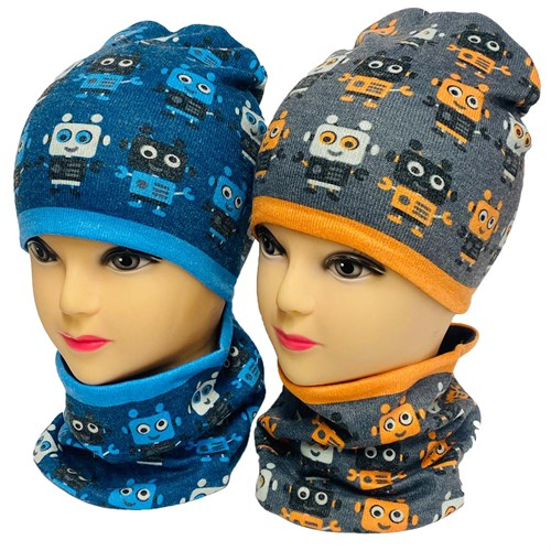 ambra комплект шапка двойной трикотаж + снуд (р.44-46,48-50) робот - фото 33943