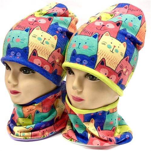 ambra комплект шапка двойной трикотаж + снуд (р.48-50,52-54) коты - фото 33980