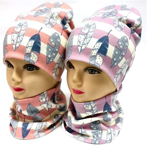 ambra комплект шапка двойной трикотаж + снуд (р.48-50,52-54) перышки - фото 33983